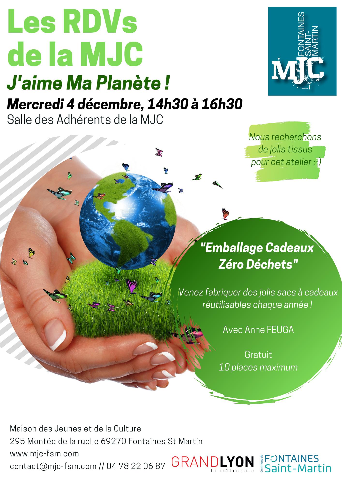 Atelier J Aime Ma Planete Merc 4 Dec 14h30 Mjc Fontaines Saint Martin Activites Spectacles Et Concerts